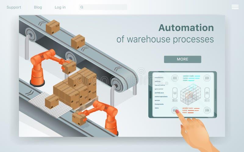 Procesos de Warehouse de la automatizaci?n del ejemplo de la web ilustración del vector