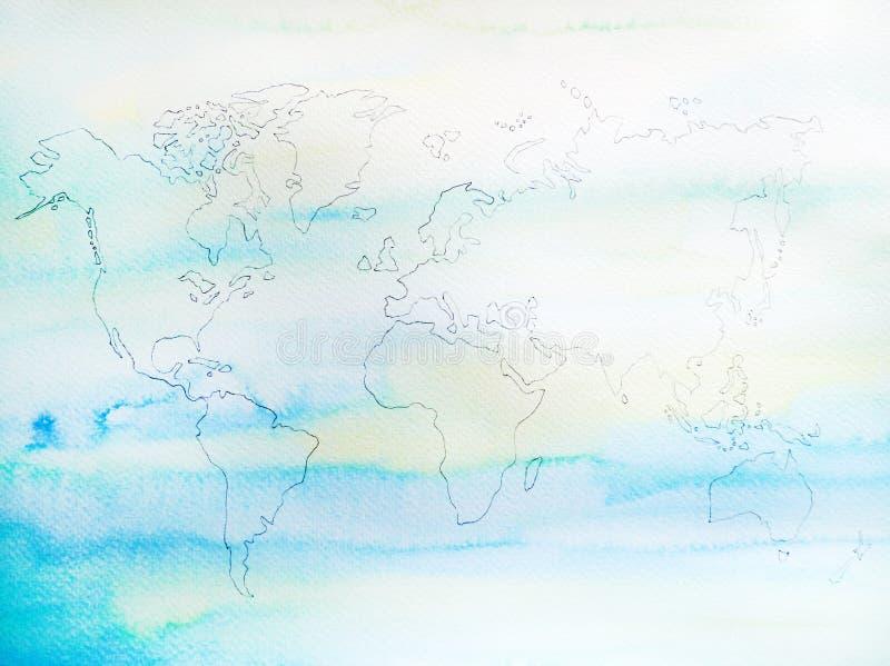 Process av dragit konstverk för världskartavattenfärgmålning hand royaltyfri illustrationer