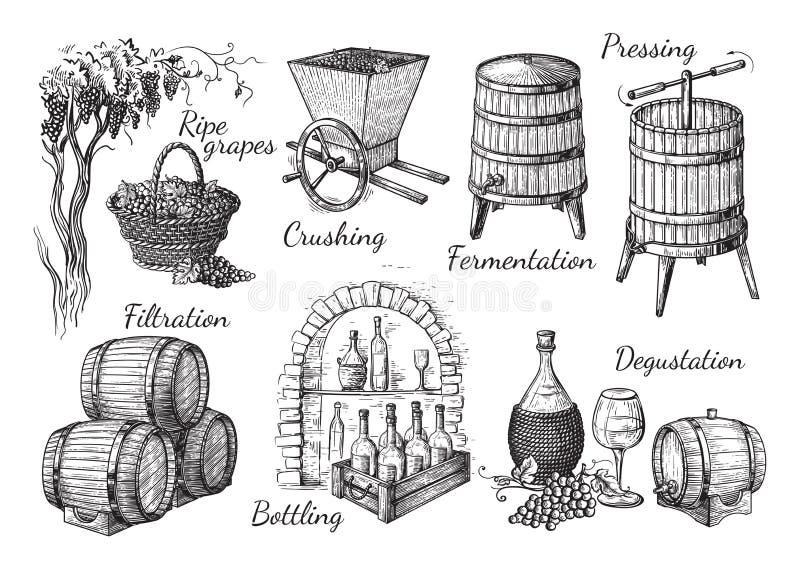 Process av vinproduktion stock illustrationer
