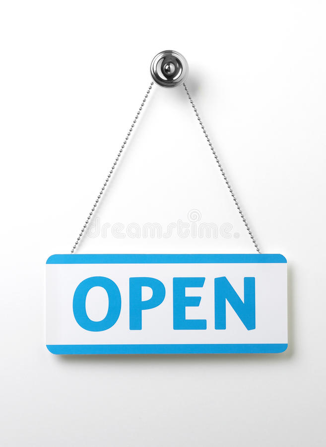 Free Process Blue Open Door Sign On A Silver Chain On A Royalty Free Stock Image - 15389626