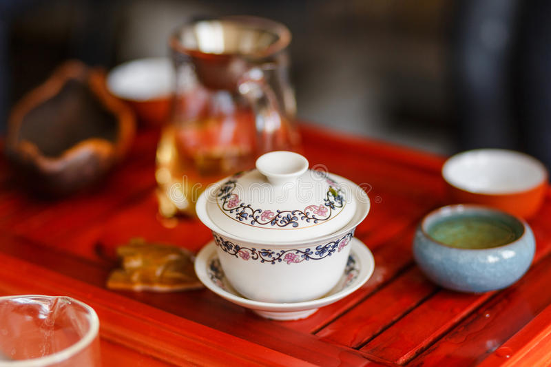 The process of brewing tea at the tea ceremony. royalty free stock images