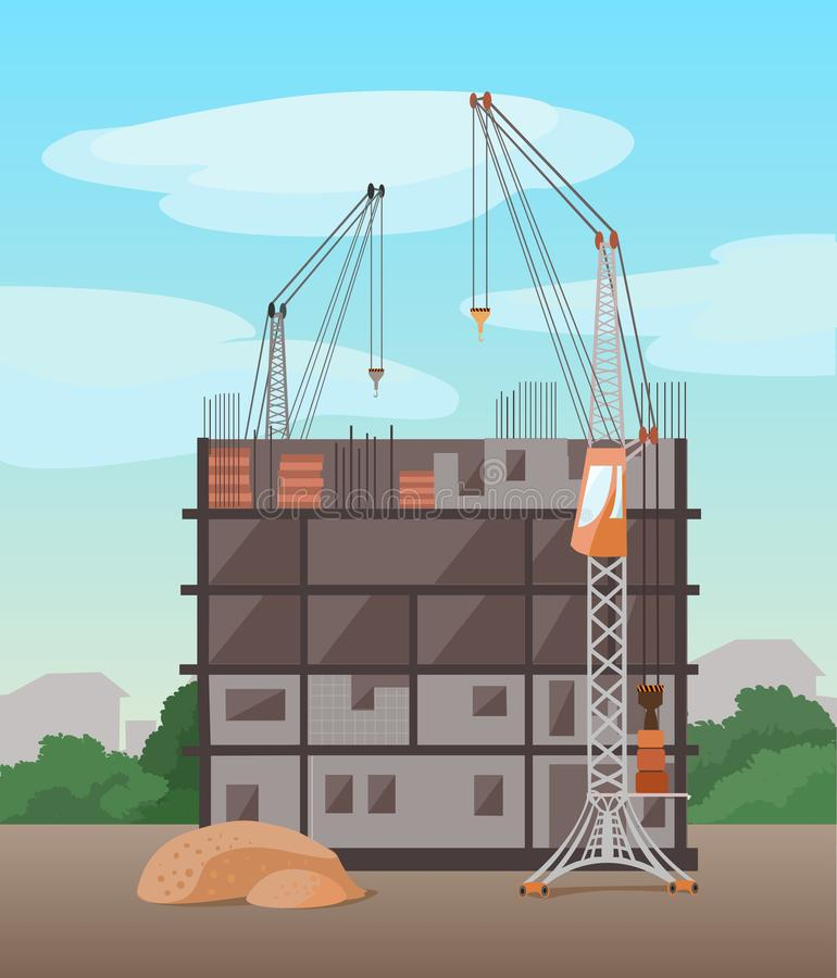Process of building multistory building. Vector flat illustration stock images