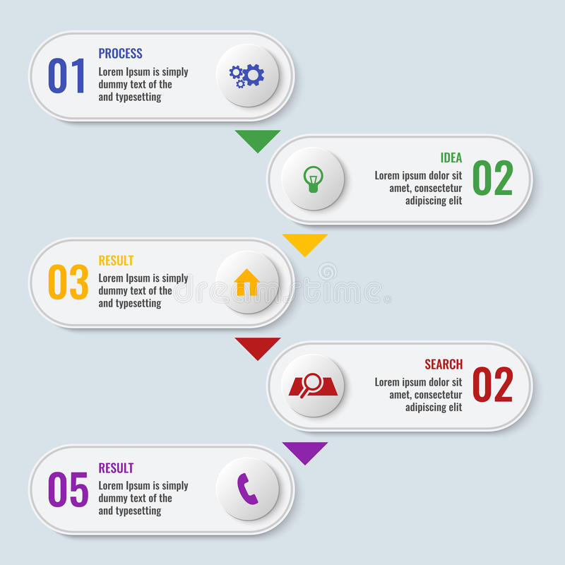 Process business chart with five steps in long shape stock illustration