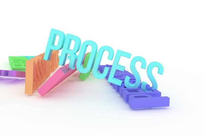 Process, business conceptual colorful 3D rendered words. Design, typography, web & positive. Process, business conceptual colorful 3D rendered words. Good for stock illustration