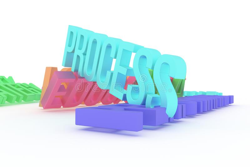 Process, business conceptual colorful 3D rendered words. Rendering, background, illustration & positive. Process, business conceptual colorful 3D rendered words vector illustration