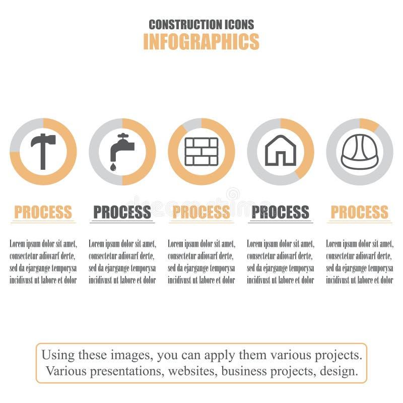 Process chart. Business data. Set of construction icons. Vector illustration stock illustration