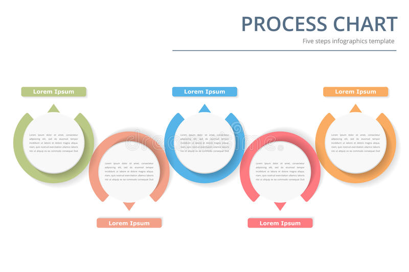 Process Chart. Process diagram template with circles, flowchart or workflow with five elements, steps or options, business infographics stock illustration