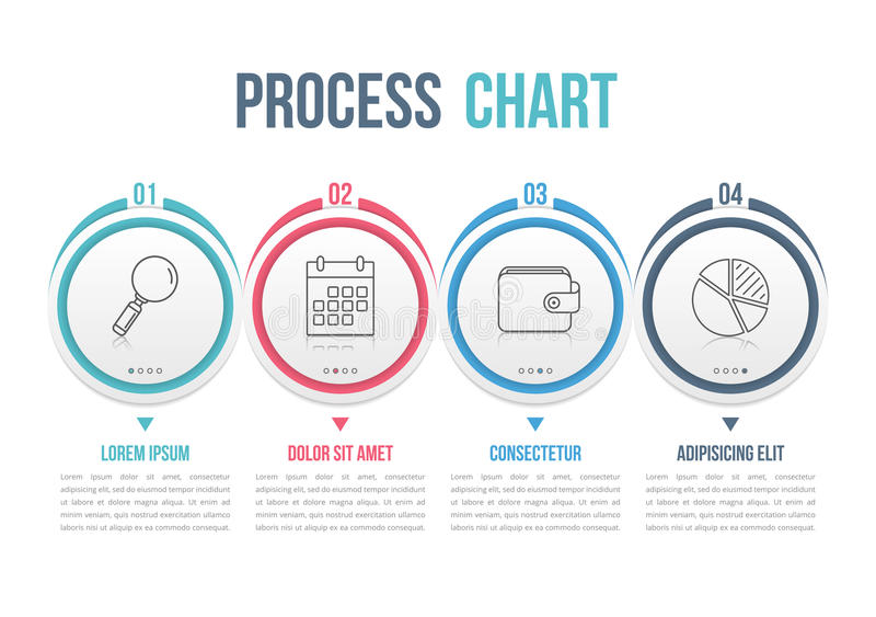 Process Chart. Process diagram template with circles, flowchart or workflow with four elements, steps or options, business infographics vector illustration