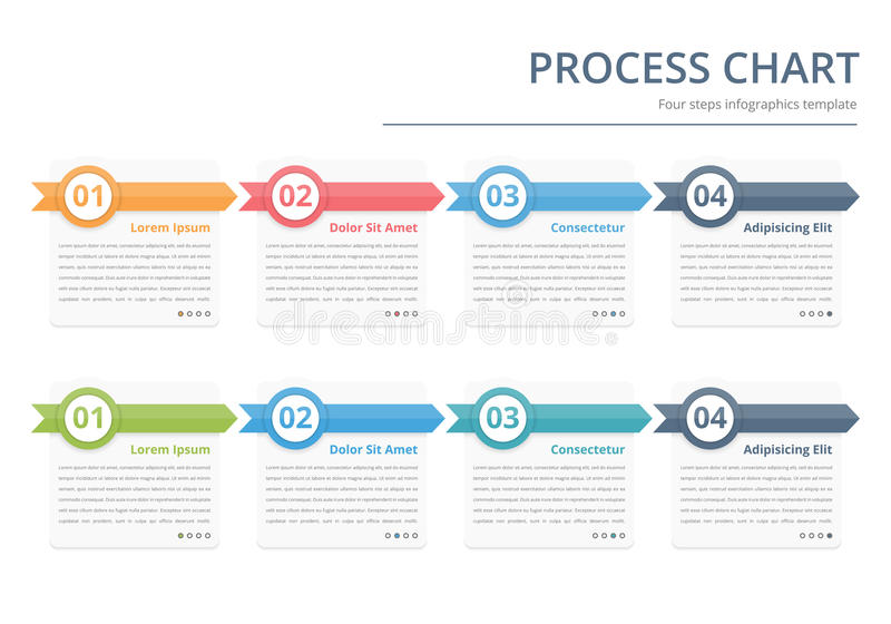 Process Chart. Flow chart template, infographics design elements with numbers, and text, business infographics, workflow, steps, options vector illustration