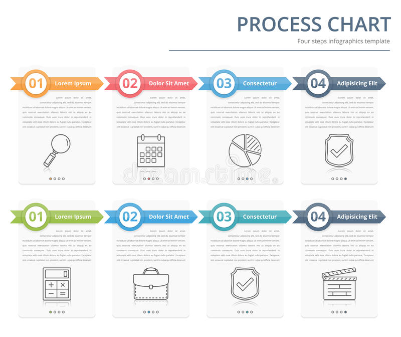 Process Chart. Flow chart template, infographics design elements with numbers, and text, business infographics, workflow, steps, options royalty free illustration