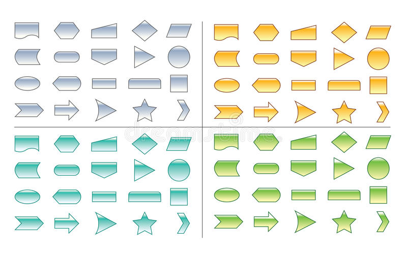 Process Chart Shapes. A set of shapes used in diagrams, org charts, process diagrams etc in 4 colors royalty free illustration