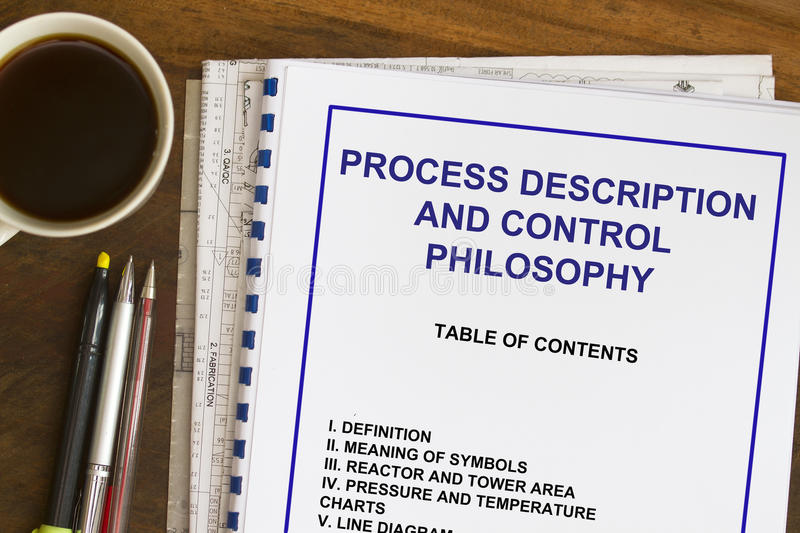 Process description and control philosophy. Abstract with coffee royalty free stock photos
