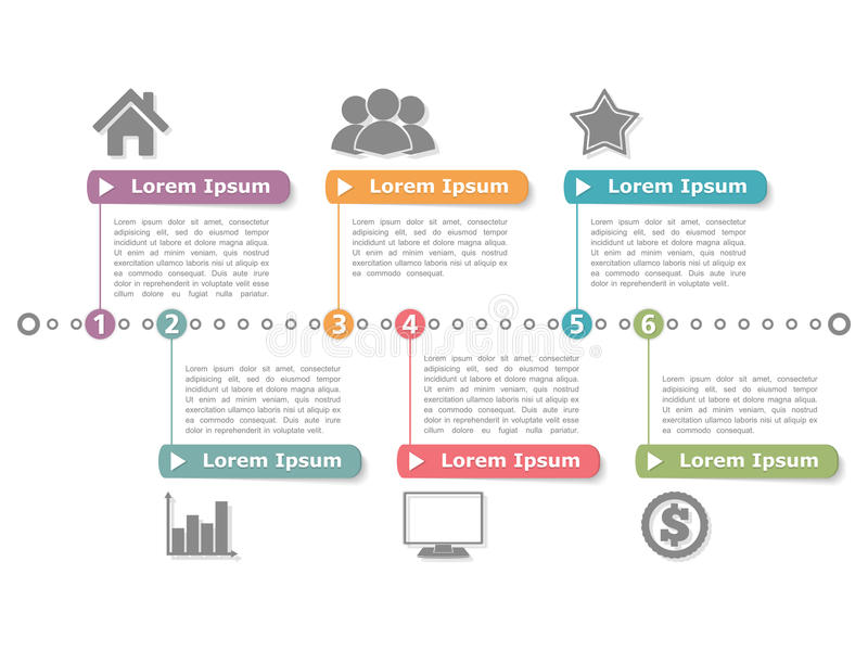 Process Diagram. Template or timeline infographics vector illustration