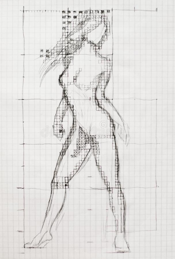 The process of drawing the body of a naked woman on a notebook sheet. Tutorial drawing. stock illustration