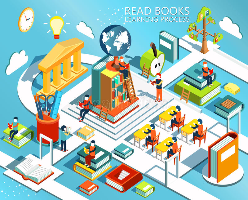 The process of education, the concept of learning and reading books in the library and in the classroom. vector illustration