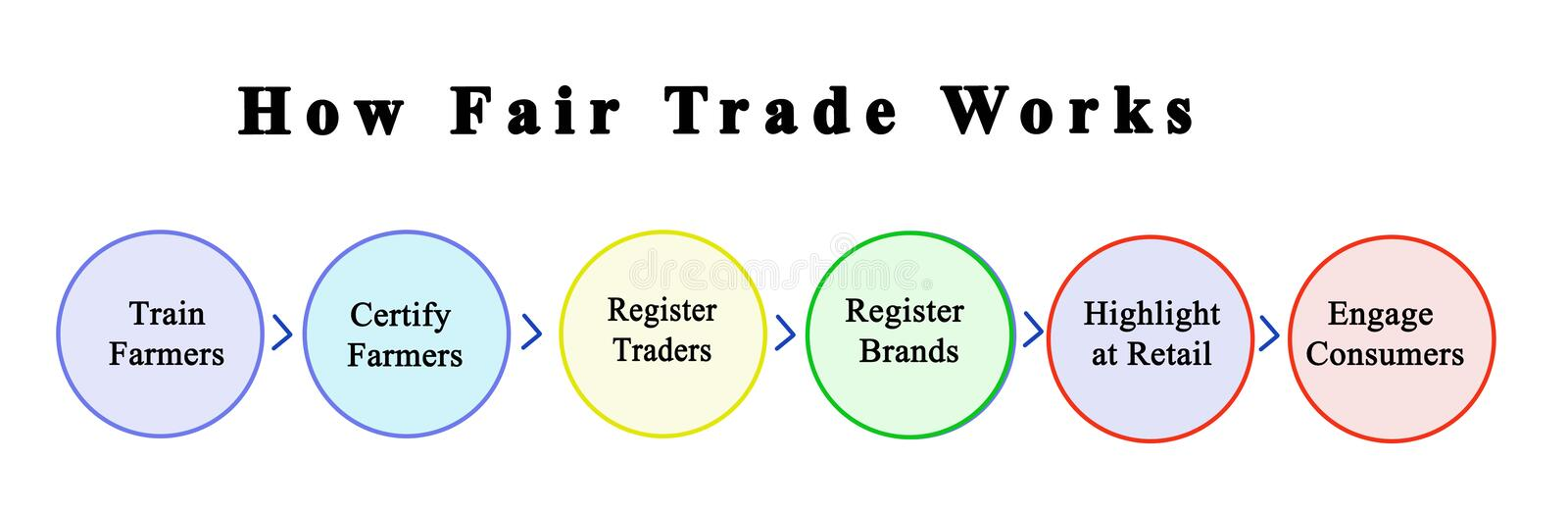 How Fair Trade  Works. Process enabling  Fair Trade to Work vector illustration