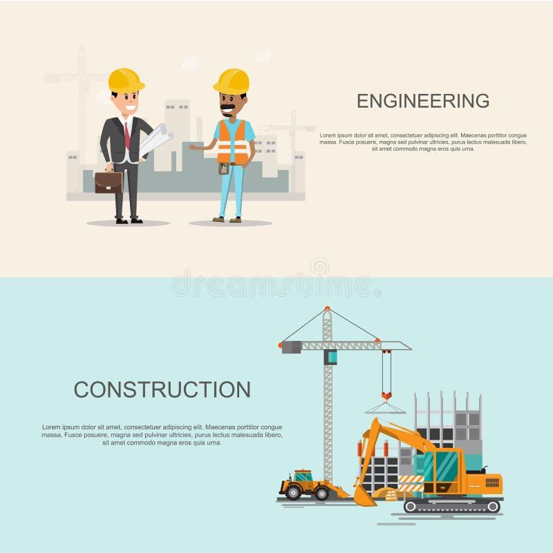 process för arbete för infographicsbyggnadsplats under konstruktion med vektor illustrationer
