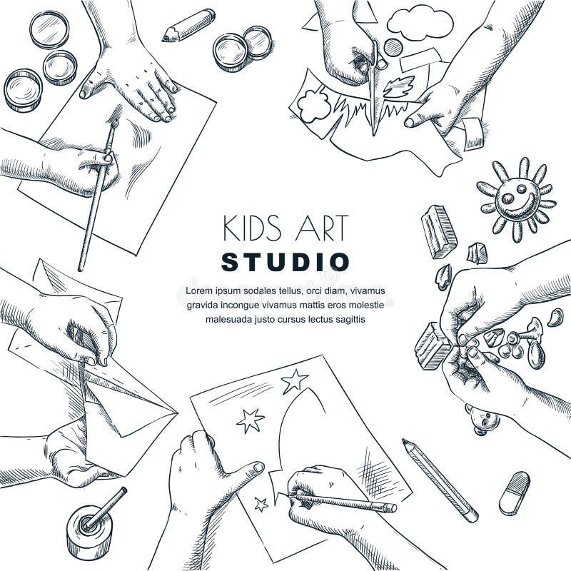 Process för arbete för ungekonstgrupp Vektorn skissar illustrationen av målning, teckningsbarn Hantverk- och kreativitetbegrepp royaltyfri illustrationer