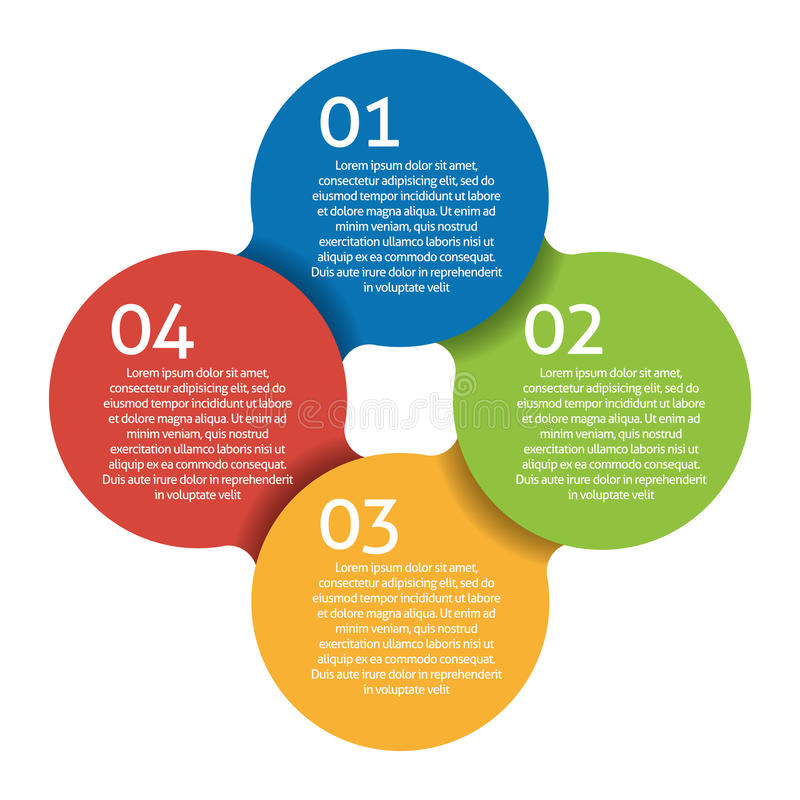 Process för fyra moment - designbeståndsdel. Vektor. royaltyfri illustrationer