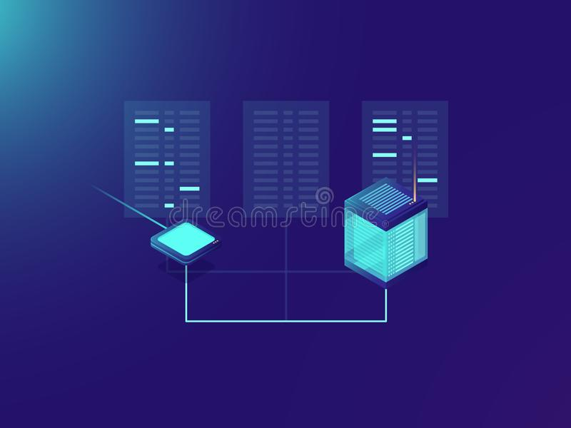 Process för mappöverföring som bearbetar stora data, serverrum, datorhall, molnlagringsbegrepp, internetconection, nätverk stock illustrationer