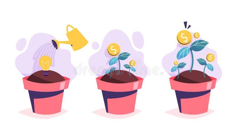 Process för pengarträdtillväxt Investering i idé stock illustrationer