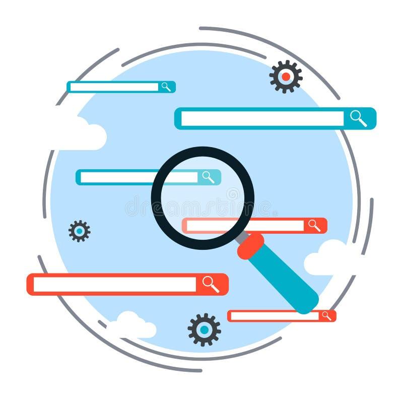 Process för sökandemotoroptimization, begrepp för rengöringsduksökandevektor stock illustrationer