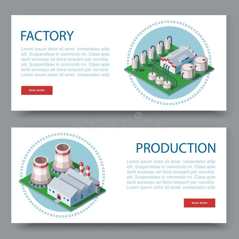 Process factory. Technology plant set of two flat vector banners. Manufacturing plants and factory icons with place for stock illustration