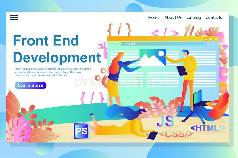 Process of the front end development, from the idea to design and coding using certain languages and scripts stock illustration