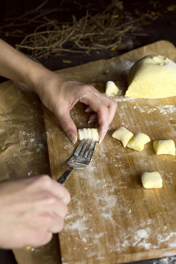 Process of gnocchi making. stock photos