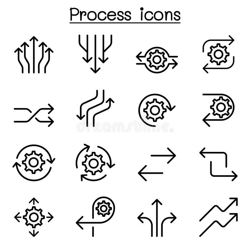 Process icon set in thin line style. Vector illustration graphic design royalty free illustration