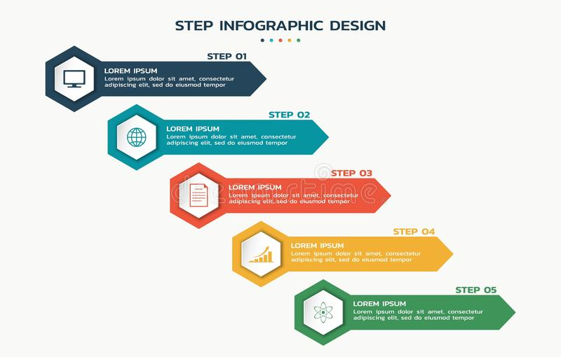 Process infographic. steps flowchart with hexagons with icons and text. Process infographic. five steps flowchart with hexagons with icons and text stock illustration