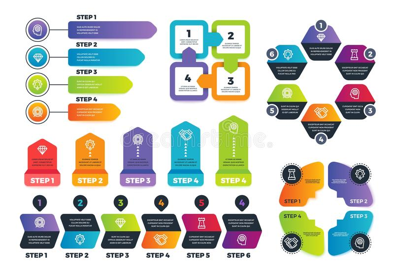 Process infographics. Business infographic elements, strategy map and chars for finance presentation. Vector template stock illustration