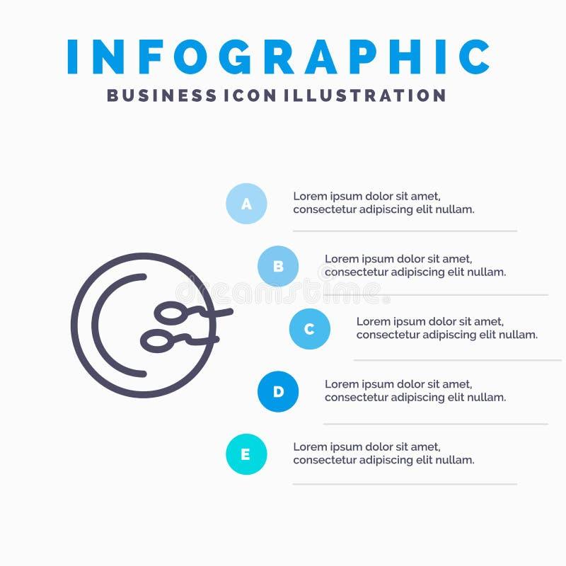 Process läkarundersökning, reproduktion, medicinlinje symbol med för presentationsinfographics för 5 moment bakgrund royaltyfri illustrationer
