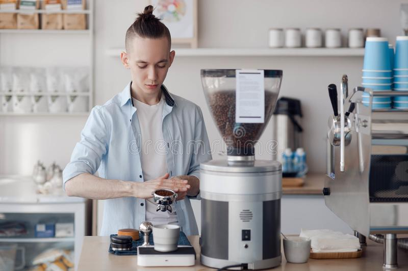 The process of making coffee stock photography