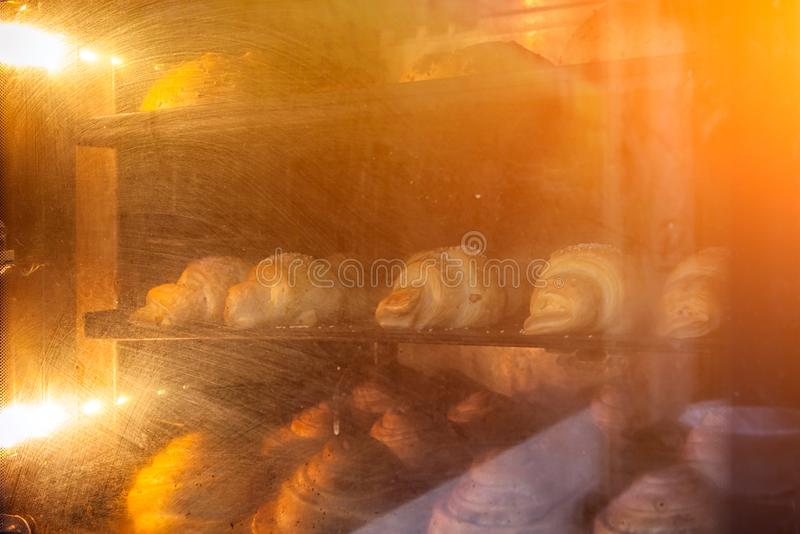 process of making croissants royalty free stock photo