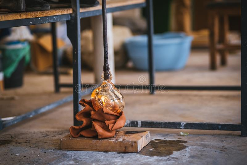 Glass making process. The process of making glass culptures royalty free stock image