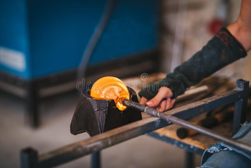 Glass making process. stock image