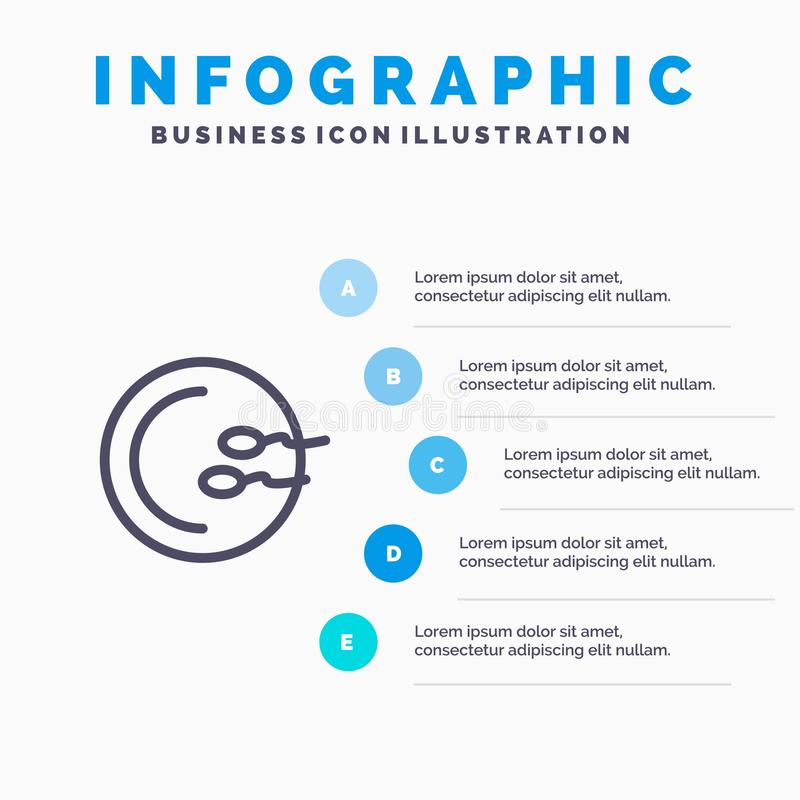 Process, Medical, Reproduction, Medicine Line icon with 5 steps presentation infographics Background royalty free illustration