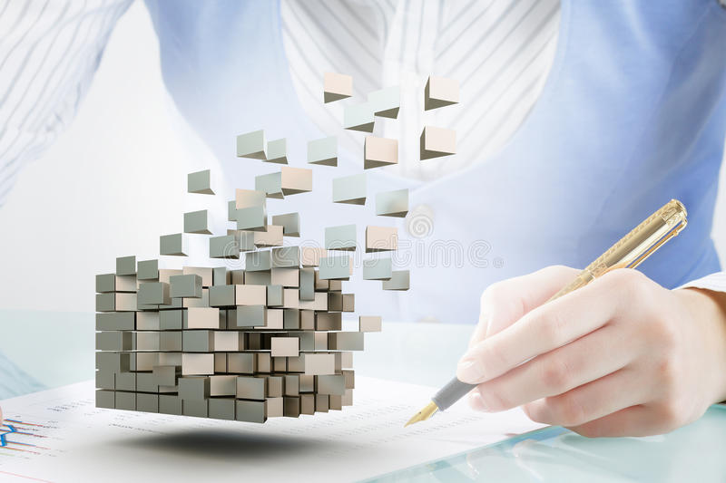 Process of new technologies intergration . Mixed media. Close up of businesswoman working at desk and 3D cube illustration stock images