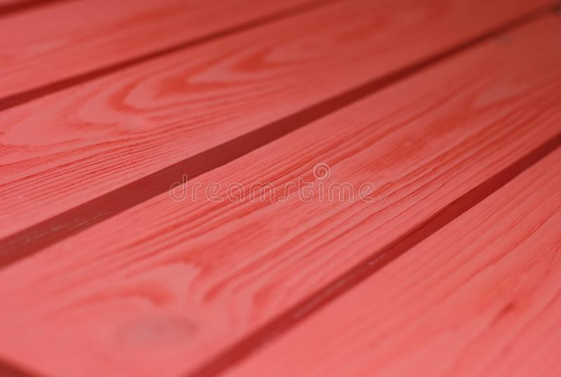 Wood Texture, coral-red color Wooden Plank Grain Background, Desk in Perspective Close Up, Striped Timber, Old Table or Floor Boar stock photography
