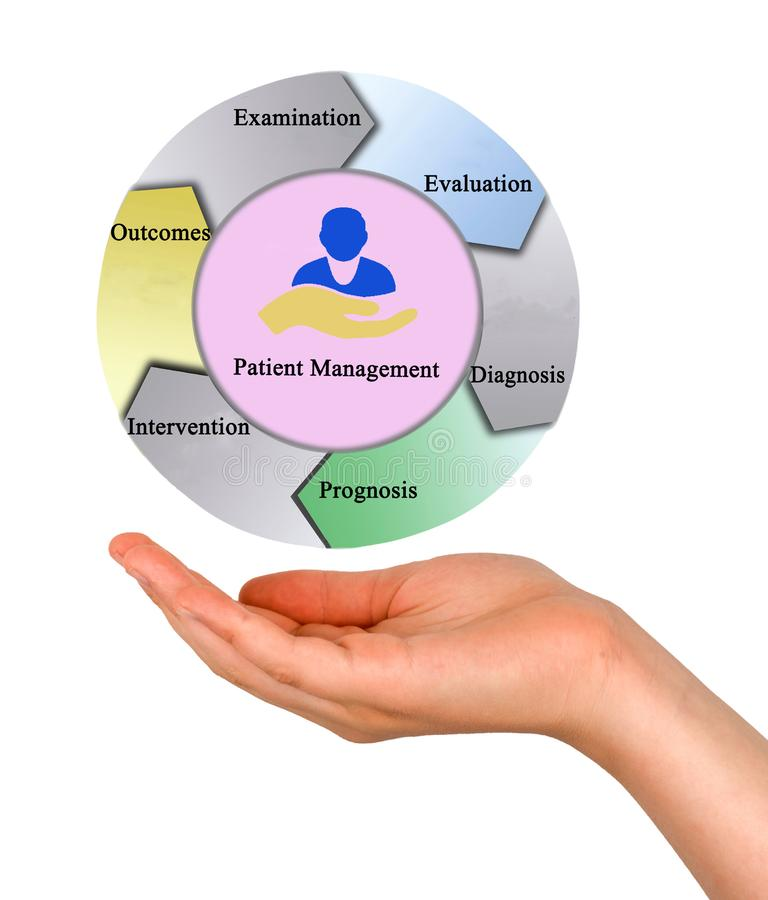 Process of Patient Management. Presenting Process of Patient Management stock photography