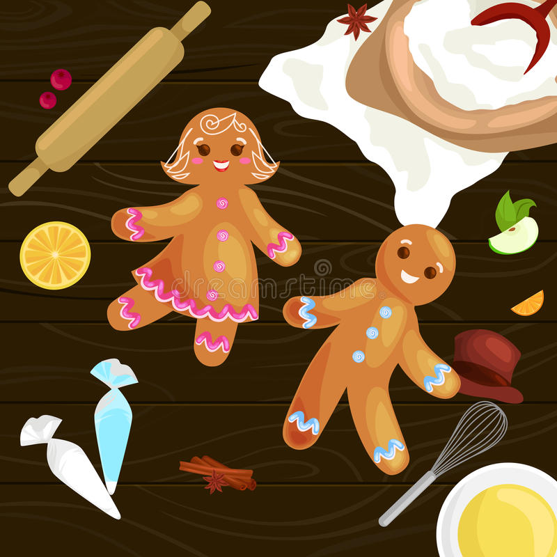 Process of preparing Christmas treats and sweets on a wooden kitchen table. Gingerbread man and ingredients for cooking flour, yatsa, spices vector stock illustration