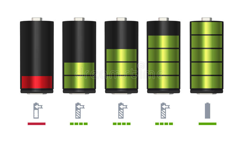 Process of recharging battery. Minimum and full charge. Vector illustration stock illustration