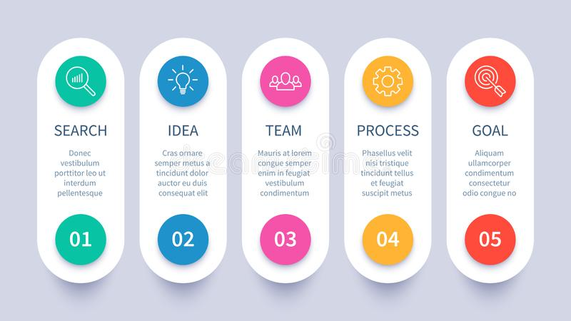 Process steps infographic chart. Business strategy layout, workflow timeline and startup plan diagram vector royalty free illustration