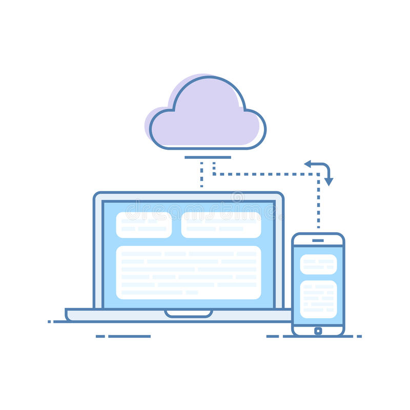 The process of synchronizing data from a mobile phone and a laptop. Storing data in the cloud storage. Vector royalty free illustration