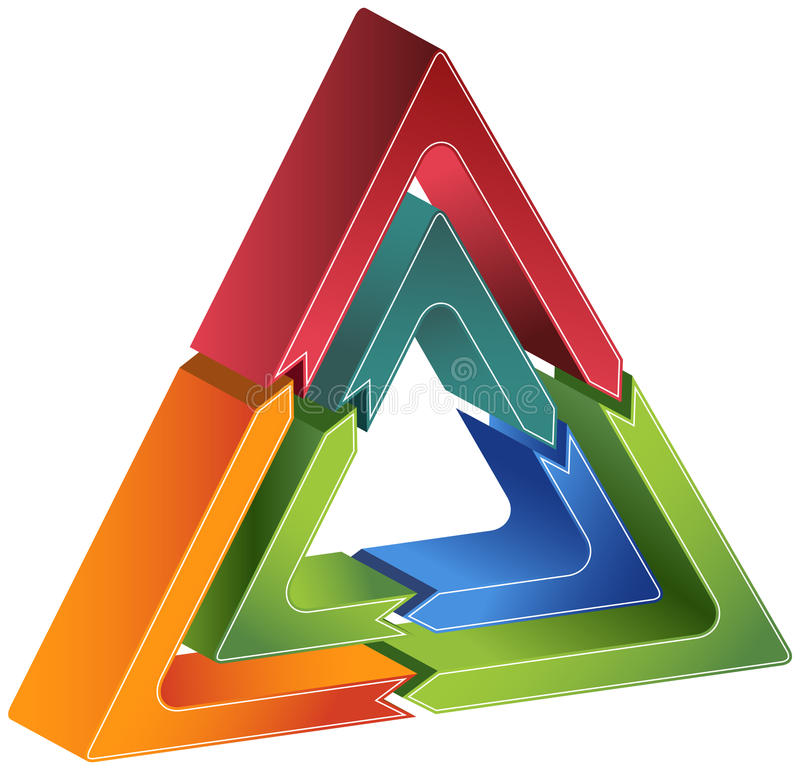 Process Triangle Diagram. 3D triangular business diagram with roating arrows vector illustration