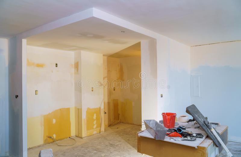 Process for under construction, remodeling, renovation, extension, restoration and reconstruction royalty free stock photos