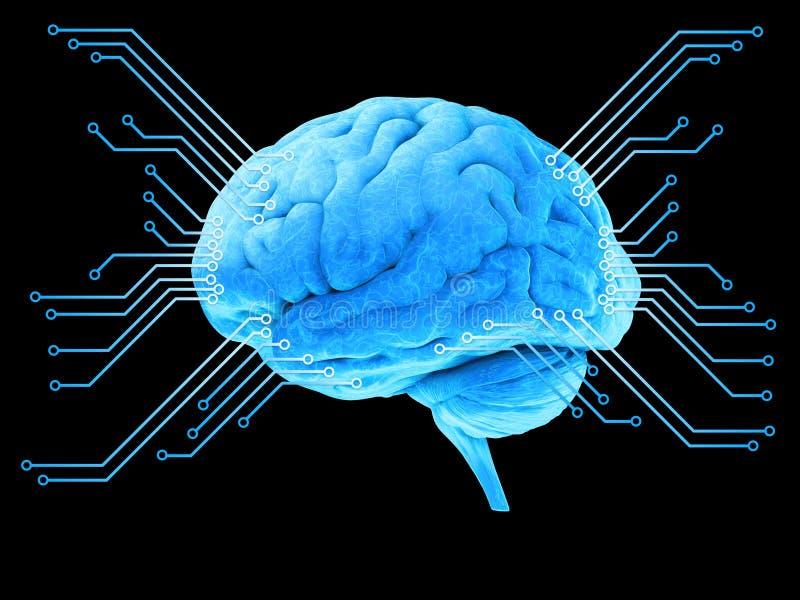 Processador azul do cérebro de Digitas ilustração stock