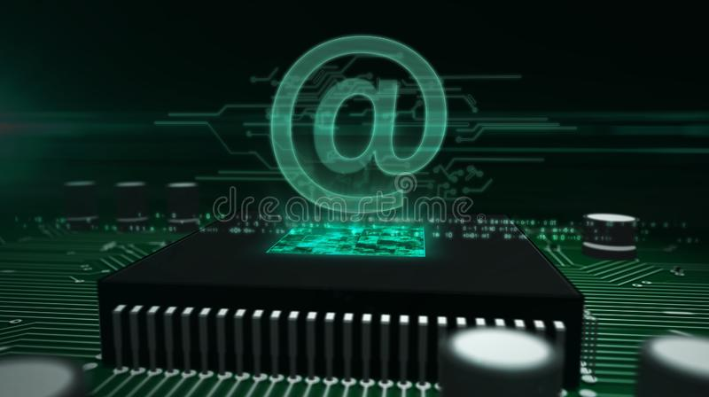 Processador central a bordo com - em holograma do correio imagens de stock