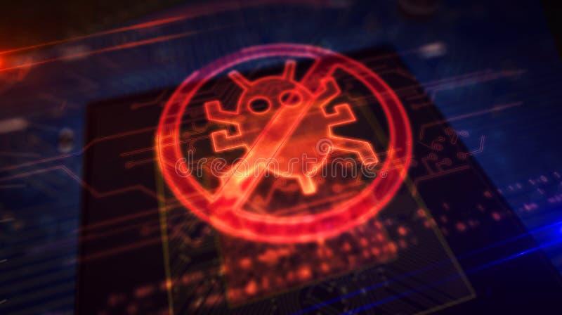 Processador central a bordo com exposi??o do holograma do antivirus ilustração do vetor